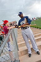 August 7,2010 Adalberto Mendez (30) signs and autograph before the MiLB game between the New Orleans Zephyrs and the Colorado Springs Sky Sox at Security Service Field in Colorado Springs Colorado.