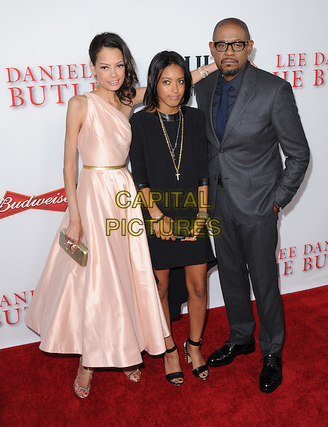 Keisha Nash, Autumn Whitaker &amp; Forest Whitaker<br /> &quot;Lee Daniels' The Butler&quot; Los Angeles Premiere held at Regal Cinemas L.A. Live, Los Angeles, California, USA.        <br /> August 12th, 2013    <br /> full length pink dress grey gray suit jacket blue shirt glasses married husband wife black mother mom mum father dad daughter family <br /> CAP/DVS<br /> &copy;DVS/Capital Pictures