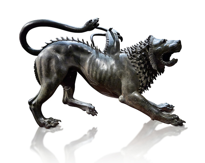 """Side view of the Etruscan bronce statue of the mythical Chimera known as the  """"Chimera of Arezzo"""" from the St Lorentino Gate of Arezzo, made end of 5th - early 4th century B.C, inv no 1,  National Archaeological Museum Florence, Italy , white background"""