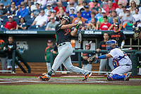 George Iskenderian (7) of the Miami Hurricanes bats during a game between the Miami Hurricanes and Florida Gators at TD Ameritrade Park on June 13, 2015 in Omaha, Nebraska. (Brace Hemmelgarn/Four Seam Images)