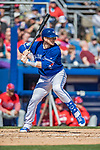 6 March 2019: Toronto Blue Jays top prospect catcher Danny Jansen at bat during a Spring Training game against the Philadelphia Phillies at Dunedin Stadium in Dunedin, Florida. The Blue Jays defeated the Phillies 9-7 in Grapefruit League play. Mandatory Credit: Ed Wolfstein Photo *** RAW (NEF) Image File Available ***