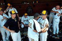 TALLAHASSEE, FL. 6/8/08-Long faces crowd the Wichita State dug out after they lost to Florida State 11-4 in NCAA Super Regional action Sunday at Dick Howser Stadium in Tallahassee. The Seminoles now advance to the College World Series. FSU has never won the CWS and it has been eight years since their last trip to Omaha. COLIN HACKLEY PHOTO
