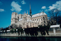 Notre Dame cathedral from across the water. Paris, France