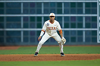 Texas Longhorns third baseman Cam Williams (55) on defense against the Arkansas Razorbacks in game six of the 2020 Shriners Hospitals for Children College Classic at Minute Maid Park on February 28, 2020 in Houston, Texas. The Longhorns defeated the Razorbacks 8-7. (Brian Westerholt/Four Seam Images)
