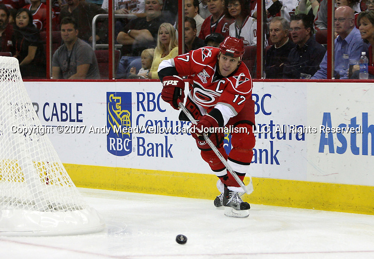 03 October 2007: Carolina's Rod Brind'Amour. The Montreal Canadiens defeated the Carolina Hurricanes 3-2 in overtime at the RBC Center in Raleigh, North Carolina in a 2007-08 National Hockey League regular season game.