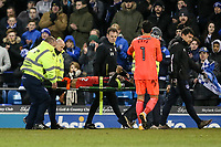 Blackburn Rovers' Ryan Nyambe is stretchered from the pitch<br /> <br /> Photographer Andrew Kearns/CameraSport<br /> <br /> The EFL Sky Bet League One - Portsmouth v Blackburn Rovers - Tuesday 13th February 2018 - Fratton Park - Portsmouth<br /> <br /> World Copyright &copy; 2018 CameraSport. All rights reserved. 43 Linden Ave. Countesthorpe. Leicester. England. LE8 5PG - Tel: +44 (0) 116 277 4147 - admin@camerasport.com - www.camerasport.com