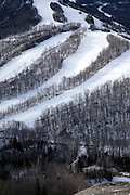 Cannon Mountain during the winter months from Artists Bluff.  Located in White Mountains, New Hampshire, USA...