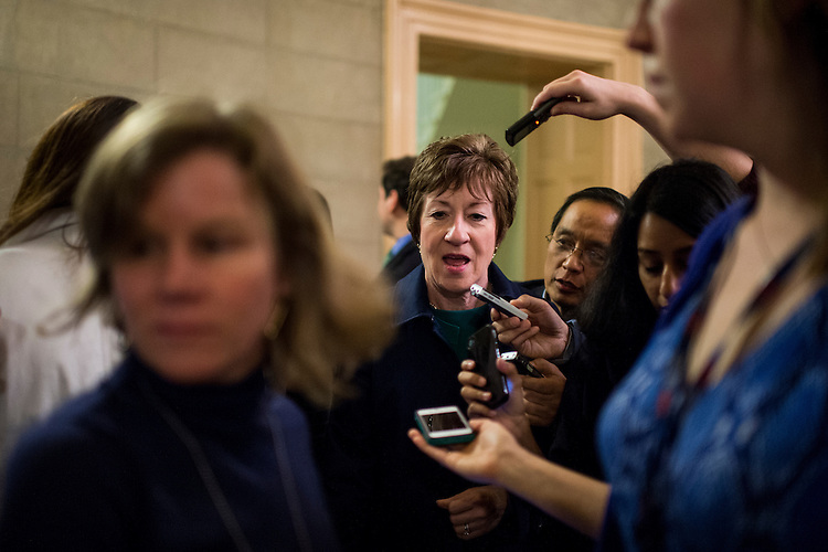 UNITED STATES - OCTOBER 11: Sen. Susan Collins, R-Maine, speaks with reporters as she returns from the the Senate Republicans' meeting with President Obama at the White House about the government shutdown and the debt ceiling on Friday, Oct. 11, 2013. (Photo By Bill Clark/CQ Roll Call)