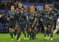 Leicester City's Demarai Gray celebrates scoring his side's first goal with team-mates<br /> <br /> Photographer Kevin Barnes/CameraSport<br /> <br /> The Premier League -  Cardiff City v Leicester City - Saturday 3rd November 2018 - Cardiff City Stadium - Cardiff<br /> <br /> World Copyright © 2018 CameraSport. All rights reserved. 43 Linden Ave. Countesthorpe. Leicester. England. LE8 5PG - Tel: +44 (0) 116 277 4147 - admin@camerasport.com - www.camerasport.com