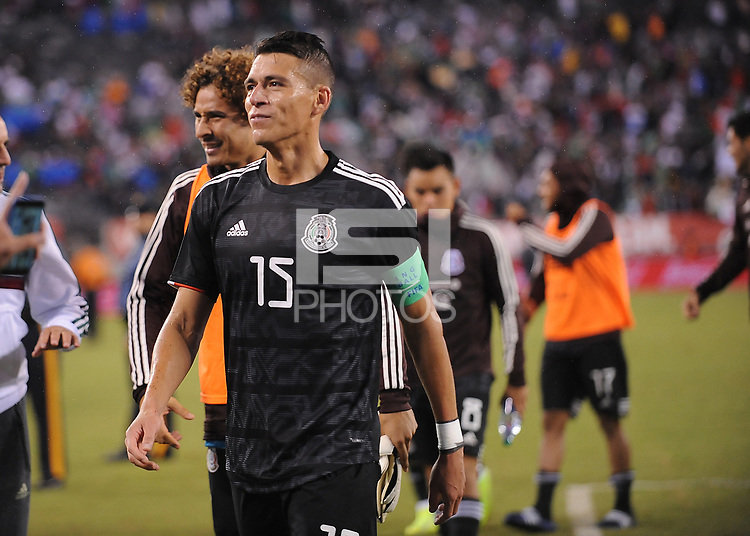 EAST RUTHERFORD, NJ - SEPTEMBER 7: Hector Moreno #15 of Mexico at the end of the game during a game between Mexico and USMNT at MetLife Stadium on September 6, 2019 in East Rutherford, New Jersey.