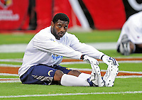 Aug. 22, 2009; Glendale, AZ, USA; San Diego Chargers running back LaDainian Tomlinson stretches prior to the game against the Arizona Cardinals during a preseason game at University of Phoenix Stadium. Mandatory Credit: Mark J. Rebilas-