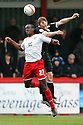 David Gray of Preston and Jordan Slew of Stevenage (on loan from Blackburn) header. - Stevenage v Preston North End - npower League 1 - Lamex Stadium, Stevenage - 9th April, 2012. © Kevin Coleman 2012