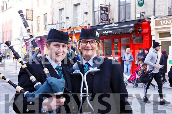 Attending the Kerry County Council and Tralee Chamber Alliance will Street Party and Family Fun Day in The Mall on Saturday last, two lone Bagpipers Leanne McCarthy and Ann Sheehan.