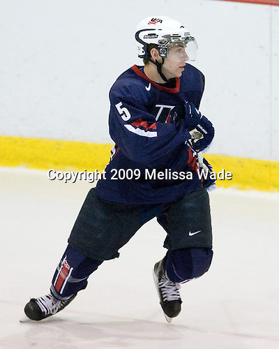 David Warsofsky (US - 5) - Team USA defeated Team Russia 8-1 in their first game during the 2009 USA Hockey National Junior Evaluation Camp on Tuesday, August 11, 2009, in the USA Rink (NHL-sized) at Lake Placid, New York.
