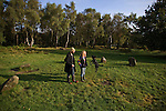 Ruth and Jav, two campaigners and residents of the Nine Ladies protest camp at Stanton Lees, near Matlock in Derbyshire, pictured at the Nine Ladies stone circle in the Derbyshire Dales. The ancient woodland and stone circle were threatened by a proposed quarry near the site. Following a nine year campaign by protesters the quarry proposal has now been rejected, and the camp will soon be dismantled and vacated.
