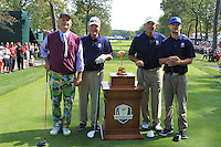 L-R actor Bill Murray, 1991 Captain Dave Stockton, 2006 Captain Tom Lehman and singer Justin Timberlake on the 1st tee for the Captains/Celebrity scramble exhibition during Monday's Practice Day of the 39th Ryder Cup at Medinah Country Club, Chicago, Illinois 25th September 2012 (Photo Eoin Clarke/www.golffile.ie)