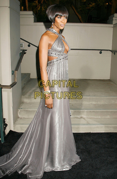NAOMI CAMPBELL.Gianni And Donatella Versace Receive Rodeo Drive Walk Of Style Award held at the Beverly Hills City Hall, Beverly Hills, California, USA. .February 8th, 2007.full length grey gray silver dress gown long cut out cleavage peephole beaded.CAP/ADM/RE.©Russ Elliot/AdMedia/Capital Pictures