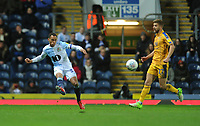 Blackburn Rovers' Elliott Bennett under pressure from Wigan Athletic's Michael Jacobs<br /> <br /> Photographer Kevin Barnes/CameraSport<br /> <br /> The EFL Sky Bet Championship - Blackburn Rovers v Wigan Athletic - Tuesday 12th March 2019 - Ewood Park - Blackburn<br /> <br /> World Copyright © 2019 CameraSport. All rights reserved. 43 Linden Ave. Countesthorpe. Leicester. England. LE8 5PG - Tel: +44 (0) 116 277 4147 - admin@camerasport.com - www.camerasport.com