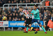 4th November 2017, St James Park, Newcastle upon Tyne, England; EPL Premier League football, Newcastle United Bournemouth; Florian Lejeune of Newcastle United breaks free from a challenge from Joshua King of AFC Bournemouth in the second half on the 0-1 loss