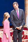 King Felipe VI and Princess of Asturias Leonor  attend auddience in Oviedo because of Princess of Asturias Awards 2019. October 18, 2019 (Alterphotos/ Francis Gonzalez)
