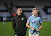 20191027 - Boreham Wood: Manchester City's Tessa Wullaert and Lauren Hemp are pictured after the Barclays FA Women's Super League match between Arsenal Women and Manchester City Women on October 27, 2019 at Boreham Wood FC, England. PHOTO:  SPORTPIX.BE | SEVIL OKTEM