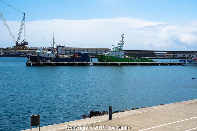 Looking across the harbor in Ponta Delgada, Sao Miguel, Portugal, the largest island in the Azores.