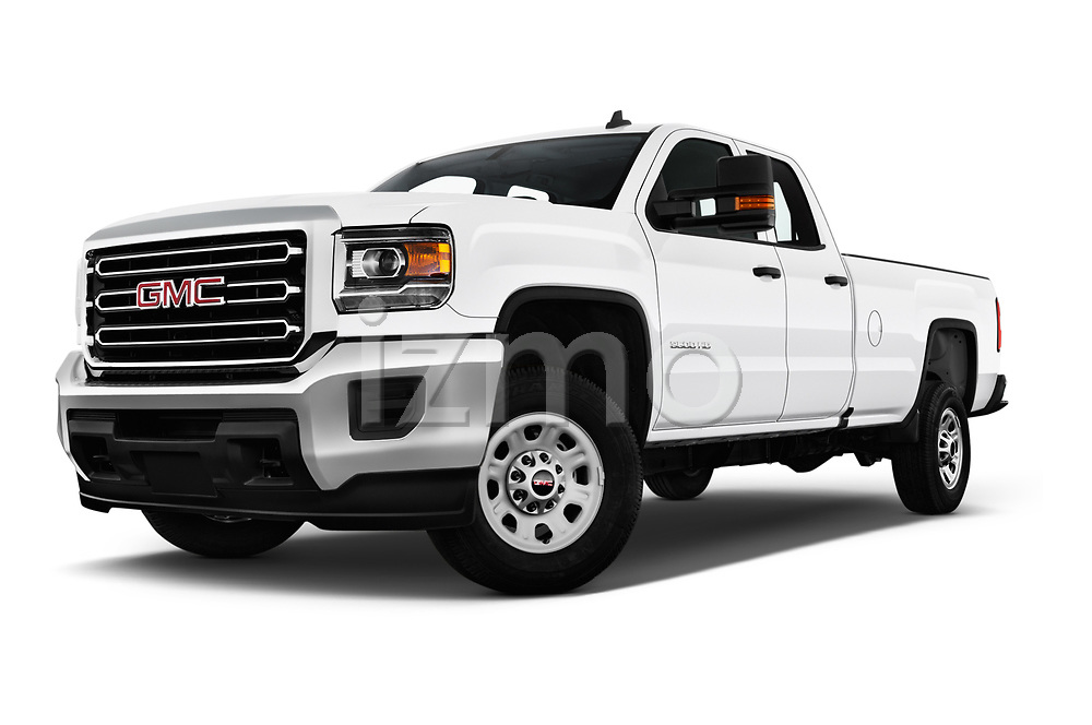Stock pictures of low aggressive front three quarter view of a 2017 GMC Sierra 3500HD Double 4WD Cab Long Box 4 Door Pick Up
