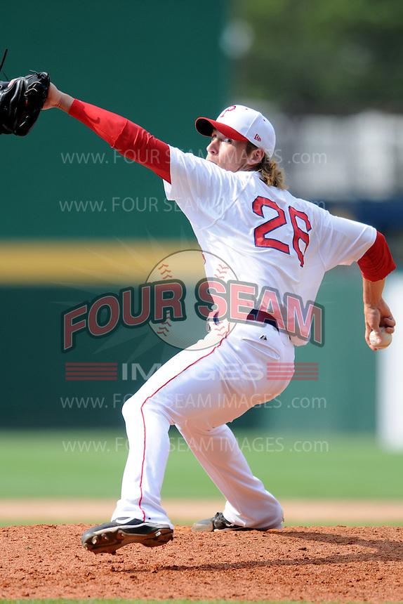 Pawtucket Red Sox pitcher Josh Fields #26 during a game versus the Lehigh Valley Iron Pigs at McCoy Stadium in Pawtucket, Rhode Island on August 5, 2012.  (Ken Babbitt/Four Seam Images)