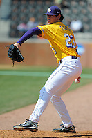 Anthony Ranaudo #23 of the LSU Tigers warms up in the Bullpen at Lindsey Nelson Stadium prior to game against Tennessee Volunteers in Knoxville, TN March 27, 2010 (Photo by Tony Farlow/Four Seam Images)