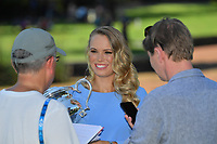 January 28, 2018: The 2018 Australian Open Women's Champion Caroline Wozniacki of Denmark is interviewed by Danish media at the Botanical Gardens in Melbourne, Australia. Photo Sydney Low