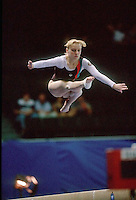 July 19, 1998; New York, NY, USA;  Artistic gymnast Alena Polozkova from Belarus performs on balance beam at 1998 Goodwill Games New York. Copyright 1998 Tom Theobald
