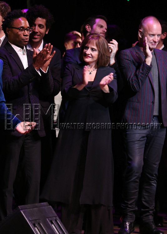 Billy Porter, Patti LuPone and Sting performing at 'Uprising Of Love: A Benefit Concert For Global Equality' at the Gershwin Theatre on September 15, 2014 in New York City.