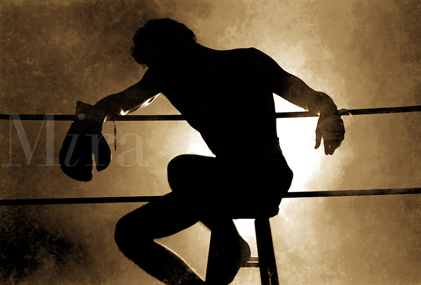 Silhouette of exhausted boxer in the ring.