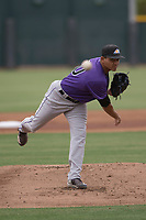 Colorado Rockies starting pitcher Justin Valdespina (70) follows through on his delivery during an Extended Spring Training game against the Arizona Diamondbacks at Salt River Fields at Talking Stick on April 16, 2018 in Scottsdale, Arizona. (Zachary Lucy/Four Seam Images)
