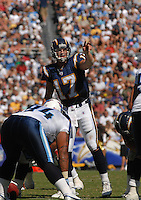 Sept. 17, 2006; San Diego, CA, USA; San Diego Chargers quarterback (17) Phillip Rivers against the Tennessee Titans at Qualcomm Stadium in San Diego, CA. Mandatory Credit: Mark J. Rebilas