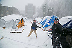 Students enjoy a snowball fight on K-Ville during a January snowfall of several inches.