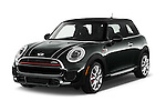 2015 MINI Mini John Cooper Works 3 Door Hatchback Angular Front stock photos of front three quarter view