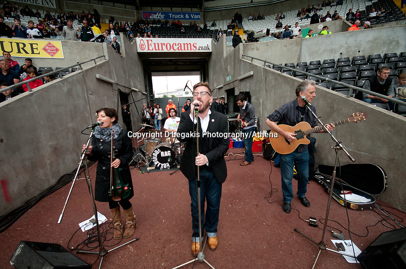 Saturday 17 August 2013<br /> <br /> Pictured: Rag Foundation band playing before Kick off<br /> <br /> Re: Barclays Premier League Swansea City v Manchester United at the Liberty Stadium, Swansea, Wales