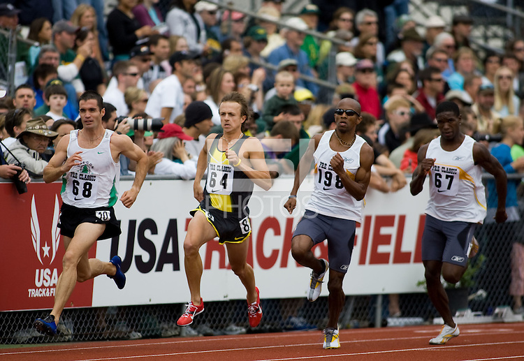 EUGENE, OR--Kevin Elliott, Nick Bromley, Jebrah Harris, and Jonathan Johnson compete in the 800 meters at the Steve Prefontaine Classic, Hayward Field, Eugene, OR. SUNDAY, JUNE 10, 2007. PHOTO © 2007 DON FERIA