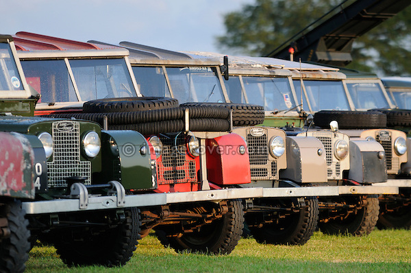 Line up of historic 1950s Land Rover Series 1. Dunsfold Collection of Land Rovers Open Day 2011, Dunsfold, Surrey, UK. --- No releases available, but releases may not be necessary for certain uses. Automotive trademarks are the property of the trademark holder, authorization may be needed for some uses.