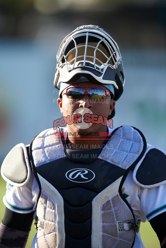 Daytona Tortugas catcher Chad Tromp (4) during a game against the Fort Myers Miracle on April 17, 2016 at Jackie Robinson Ballpark in Daytona, Florida.  Fort Myers defeated Daytona 9-0.  (Mike Janes/Four Seam Images)