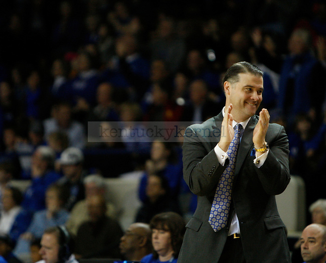 UK head coach Matthew Mitchell claps after the women's basketball game vs. LSU Memorial Coliseum , in Lexington, Ky., on Sunday, January 27, 2013. Kentucky won 73-60. Photo by Genevieve Adams  | Staff.