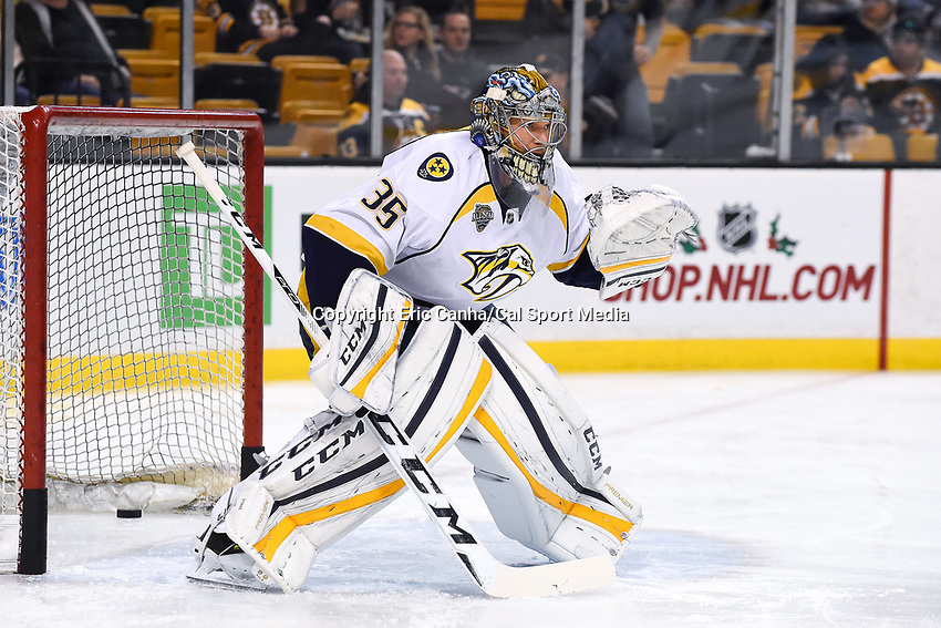 Monday, December 7, 2015: Nashville Predators goalie Pekka Rinne (35) warms up before the National Hockey League game between the Nashville Predators and the Boston Bruins held at TD Garden, in Boston, Massachusetts. The Predators defeat the Bruins 3-2 in regulation time. Eric Canha/CSM