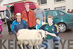 ..CONTROL:Trying to keep control of one of the rams which was on sale at the Ballinclar Horse and Sheep Fair, in Annascaul on Sunday, L-R: Michael Farrell (Inch), Bill Kelliher, Philip Carey, Liam Murphy and James Farrell (Keel)...