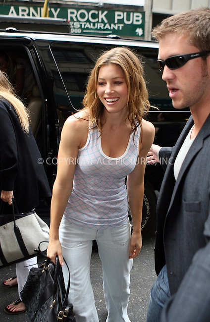 WWW.ACEPIXS.COM . . . . .  ....July 16 2007, New York City....Actress Jessica Biel on her way to a promotional activity for her new movie 'I now proniunce you Chuck and Larry' in Manhattan.....Please byline: PHILIP VAUGHAN  - ACEPIXS.COM..... *** ***..Ace Pictures, Inc:  ..te: (646) 769 0430..e-mail: info@acepixs.com..web: http://www.acepixs.com