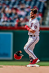 1 August 2018: Washington Nationals outfielder Bryce Harper safe at second with a stand-up double in the 8th inning against the New York Mets at Nationals Park in Washington, DC. The Nationals defeated the Mets 5-3 to sweep the 2-game weekday series. Mandatory Credit: Ed Wolfstein Photo *** RAW (NEF) Image File Available ***
