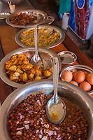 Nepal, Changu Narayan.  Restaurant Food: chickpeas, onions, potatoes, eggs.