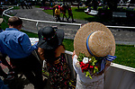 June 8, 2019 : A woman looks in on the paddock on Belmont Stakes Festival Saturday at Belmont Park in Elmont, New York. Scott Serio/Eclipse Sportswire/CSM