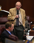 Nevada Sen. Joe Hardy, R-Boulder City, speaks on the Senate floor at the Legislative Building in Carson City, Nev., on Wednesday, May 22, 2013. Sen. Ben Kieckhefer, R-Reno, is at left. <br /> Photo by Cathleen Allison