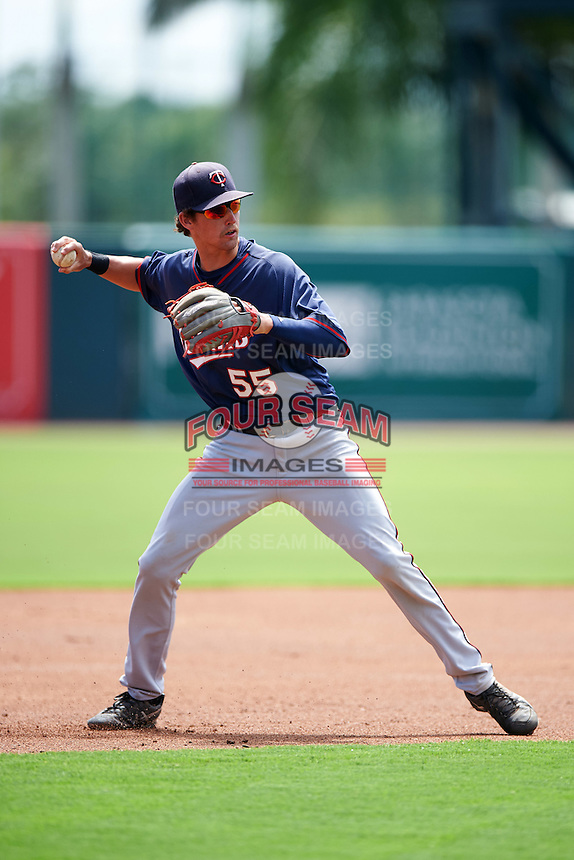 GCL Twins third baseman Aaron Whitefield (55) throws to first during a game against the GCL Orioles on August 11, 2016 at the Ed Smith Stadium in Sarasota, Florida.  GCL Twins defeated GCL Orioles 4-3.  (Mike Janes/Four Seam Images)